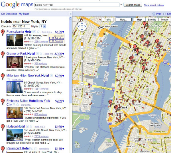Google Experiments with Hotel Pricing Integration in Google Maps