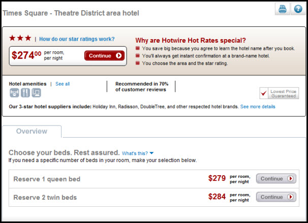 Hotwire give travelers more options and allows hotels to upsell