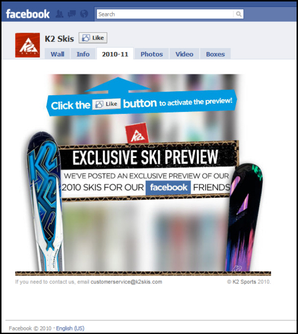 To see the new 2010 ski line, one must click the Like Button