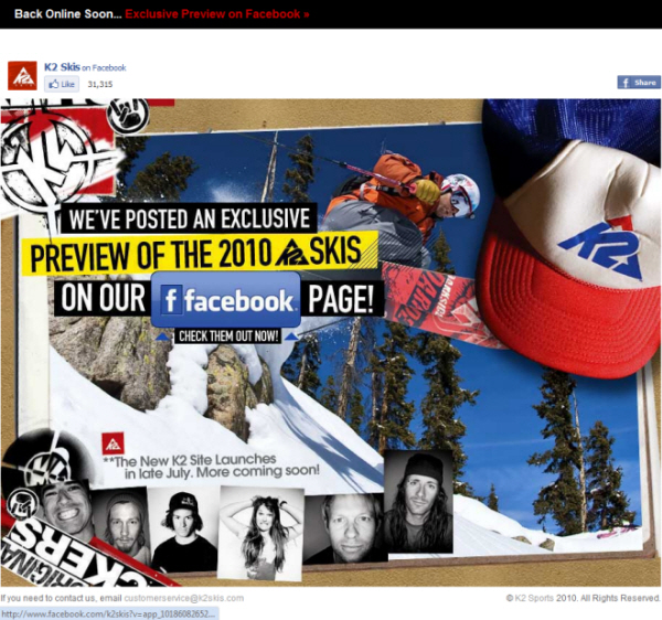 The K2 Skis website temporarily forwards to Facebook